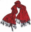 Pashmina Scarf: Red With Black G Clefs