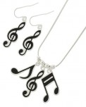 Necklace/Earrings: Music Symbols