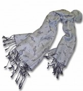 Pashmina Scarf: Silver/Gray With Black G