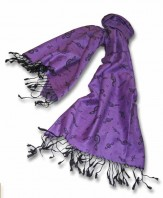 Pashmina Scarf: Purple With Black G Clef