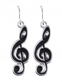 Earrings: Treble Clef (Black)