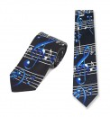 Tie: Blue Treble Clef and Notes