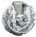 Scarf: Infinity Music Print White