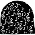 Winter Hat: Music Notes (Black W/White N