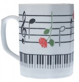 Porcelain Mug: Keyboard W/Rose(Octagon)