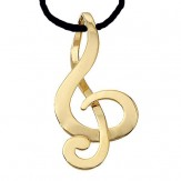 Necklace: Gold Finish G Clef (2 1/2')