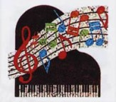 Stickers: Piano With Musical Notes