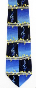 Tie: Music Staff W/Notes & G-Clef-Blue