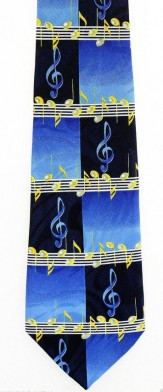 Tie: Music Staff Blue