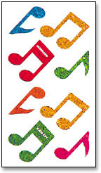 Stickers: Multicolored Musical Notes