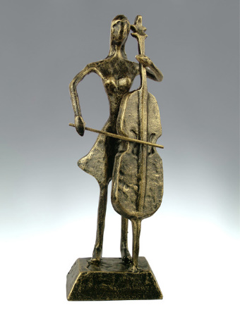 Statuette: Faux Bronze Cello Player 10'