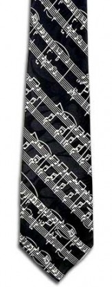 Tie: Music Staff Black