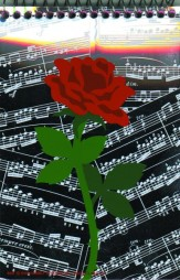 Note Pad: 3x5 Sheet Music With Rose