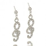 Earrings: Rhinestone G Clef