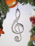 Ornament: Silver Treble Clef