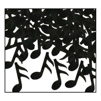 Confetti: Music Notes Black