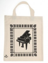 Tote: Grand Piano W/Keyboard White