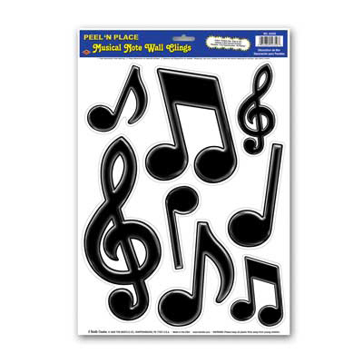 Musical Notes Peel and Place Black