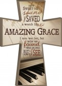Wall Plaque: Amazing Grace Cross W/Keybo