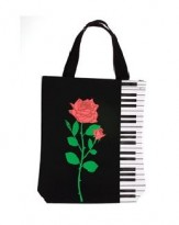 Tote: Keyboard and Rose Black