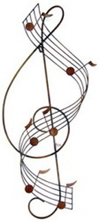 Wall Hanging: G Clef W/Wavy Staff (Metal