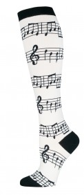 Socks: Knee High Music (White)