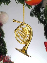 Ornament: Gold French Horn